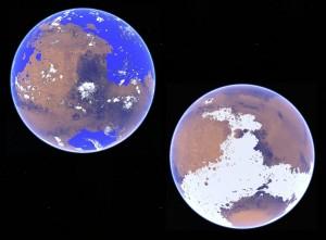 Koncepcja dwóch różnych wariantów historii Marsa — ciepłego i zimnego. Grafika: Robin D. Wordsworth, za American Geophysical Union